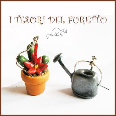 """Orecchini primavera Pollice verde """" Vaso cactus fiore rosso annaffiatoio """" serie: Piante Grasse Kawaii idea regalo giardinaggio piantina clip fiori"""