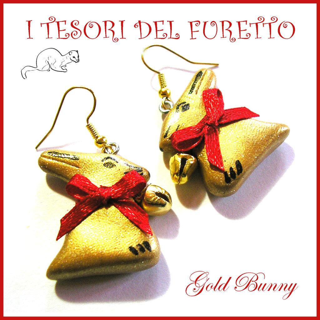 """Orecchini Pasqua """" coniglietto d oro """" cioccolato gold bunny Fimo cernit idea regalo bambina clip"""