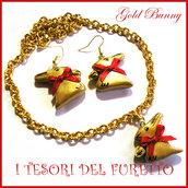 """parure collana e orecchini Pasqua """" coniglietto d oro """" cioccolato gold bunny Fimo cernit idea regalo bambina"""