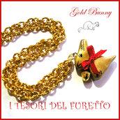 """Collana di Pasqua """" coniglietto d oro """" cioccolato gold bunny Fimo cernit idea regalo bambina"""
