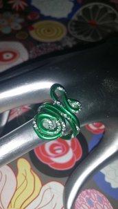 Anello Wire verde/argento