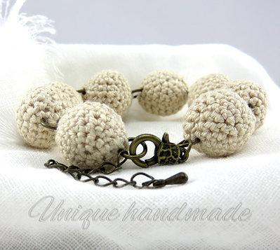 Bracciale crochet sabbia