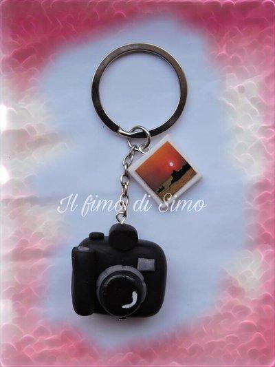 portachiavi macchina fotografica e foto in pasta polimerica
