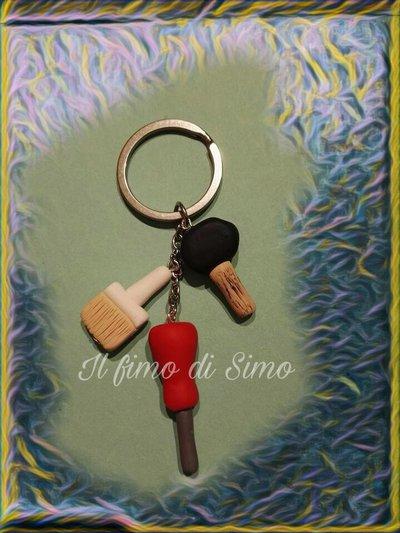 portachiavi martello,pennello e cacciavite in pasta polimerica