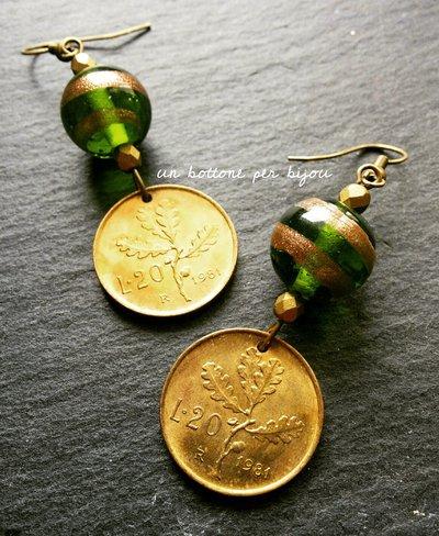 Orecchini con monete italiane vintage , fuori corso,20 lire