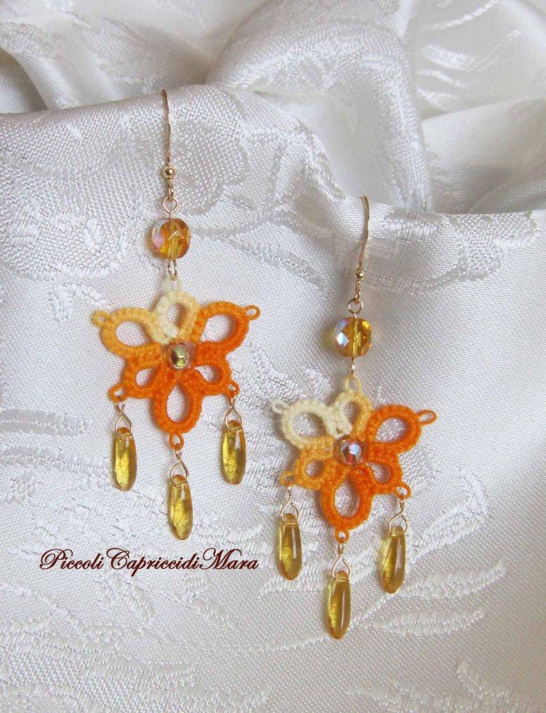 Orecchini gialli al chiacchierino, cristalli color topazio