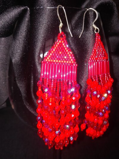 Orecchino pendente  colore rosso