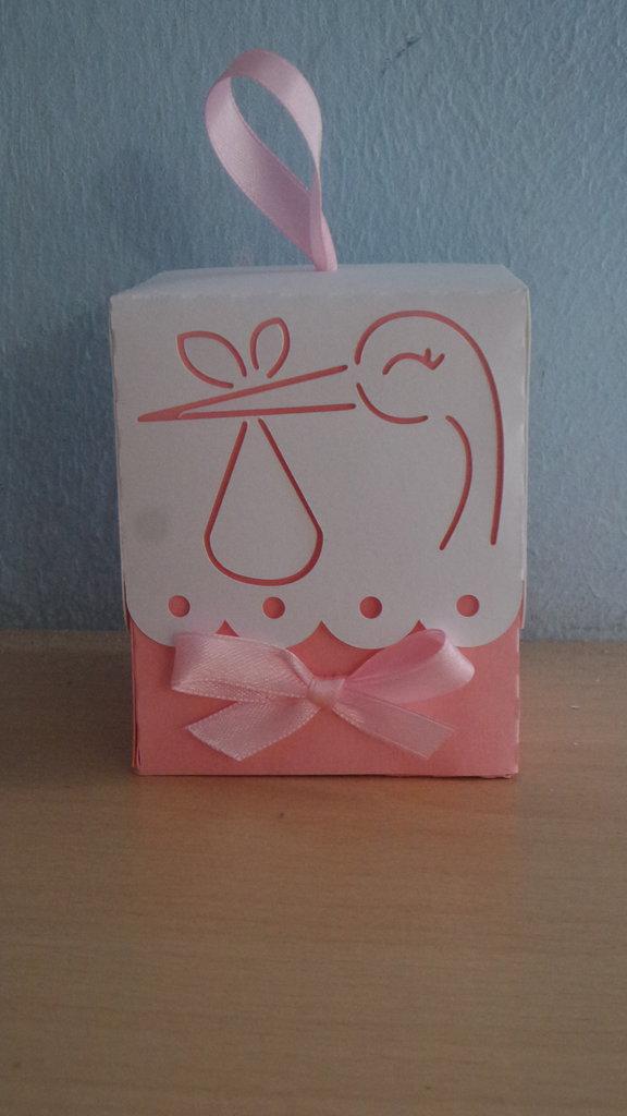 Scatolina bomboniera porta confetti nascita battesimo cicogna