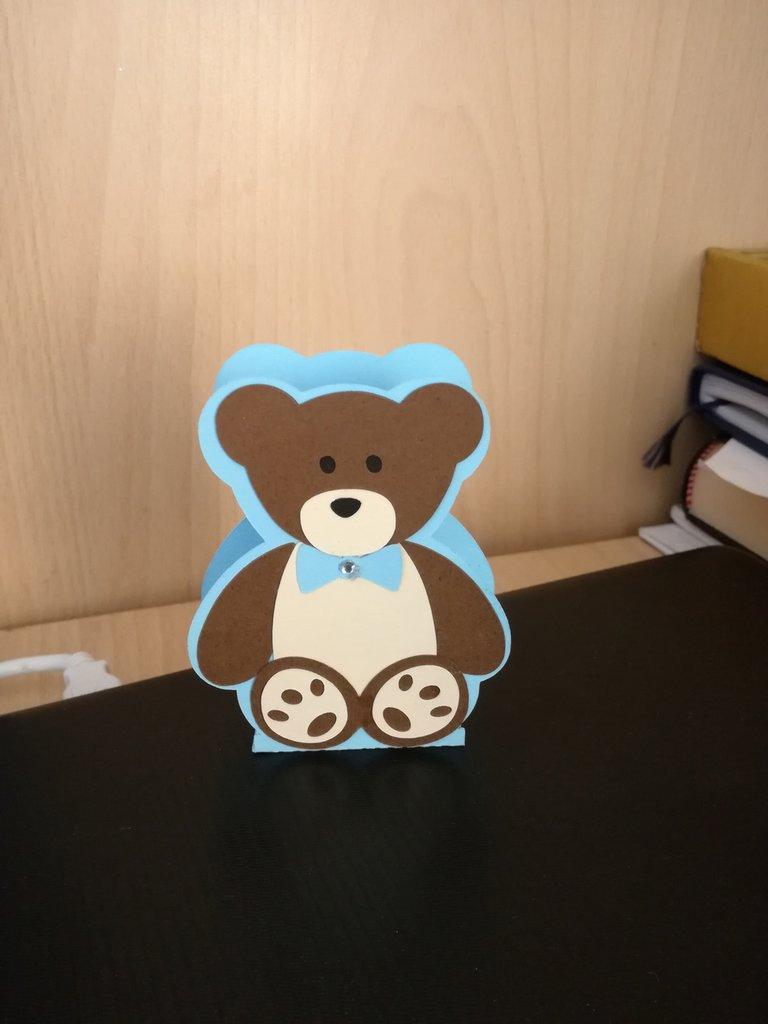 Scatolina bomboniera porta confetti nascita battesimo bimbo bimba orso