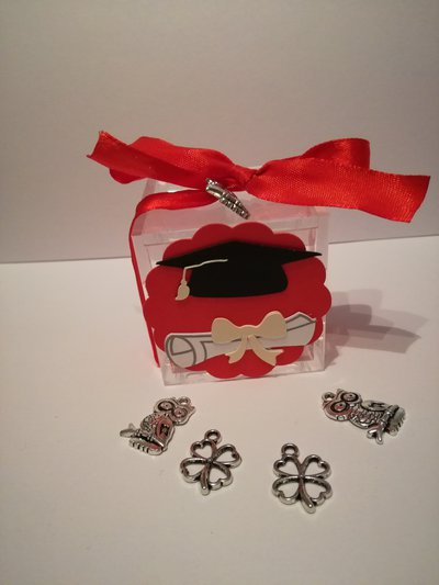 Bomboniera porta confetti sacchetto plexiglass scatolina laurea tocco pergamena