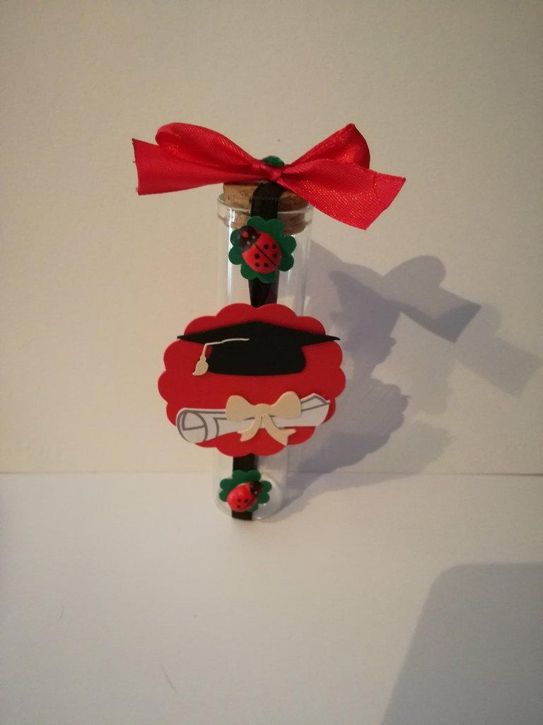 Bomboniera porta confetti sacchetto fialetta scatolina laurea tocco pergamena