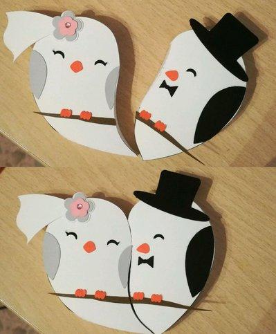 2 scatole bomboniera porta confetti matrimonio coppia nozze cuore uccellino
