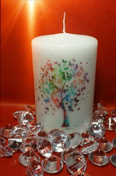 Candela albero della vita farfalle