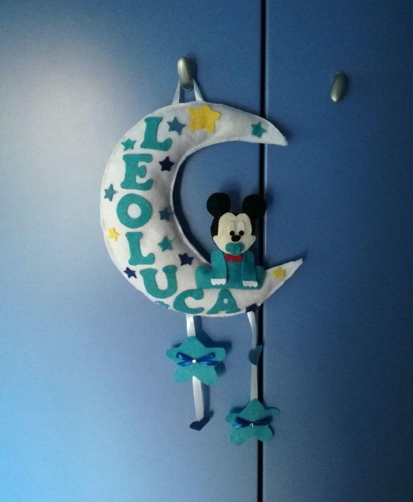 fiocco nascita imbottito coccarda topolino nome personalizzabile decorazione