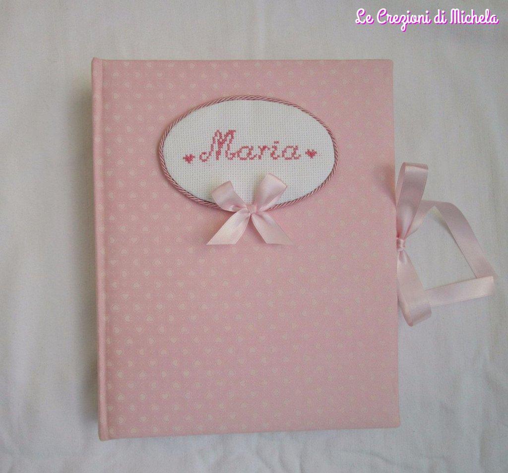 Album foto,nascita,battesimo rosa cuori piccoli+nome punto croce