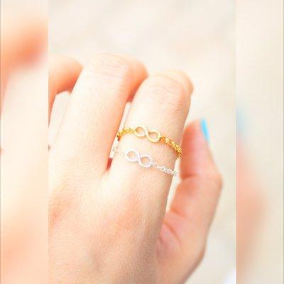 Piccolo Infinity catena Ring - argento o oro Infinity