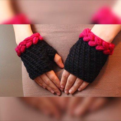 Neri e fucsia guanti, guanti senza dita