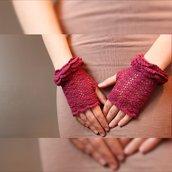 Borgogna, guanti senza dita bordeaux, guanti