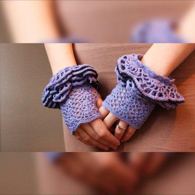 guanti Lilla, guanti senza dita uncinetto