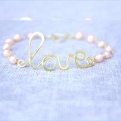 braccialetto filo a mano Parola amore avvolto