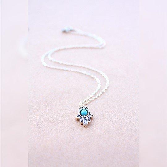 collana di hamsa del turchese, collana d'argento Hamsa