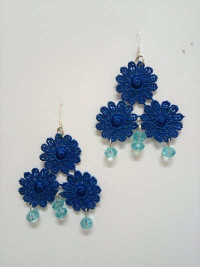 Orecchini Tris Margherite Blu