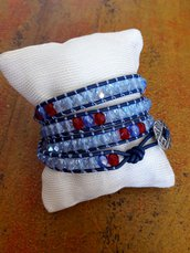 Bracciale cuoio blu, bracciale wrap, bracciale boho, blu cristallo rosso, per lei, bracciale multi giro