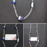 Collana lunga con perle in vetro Blu /argento