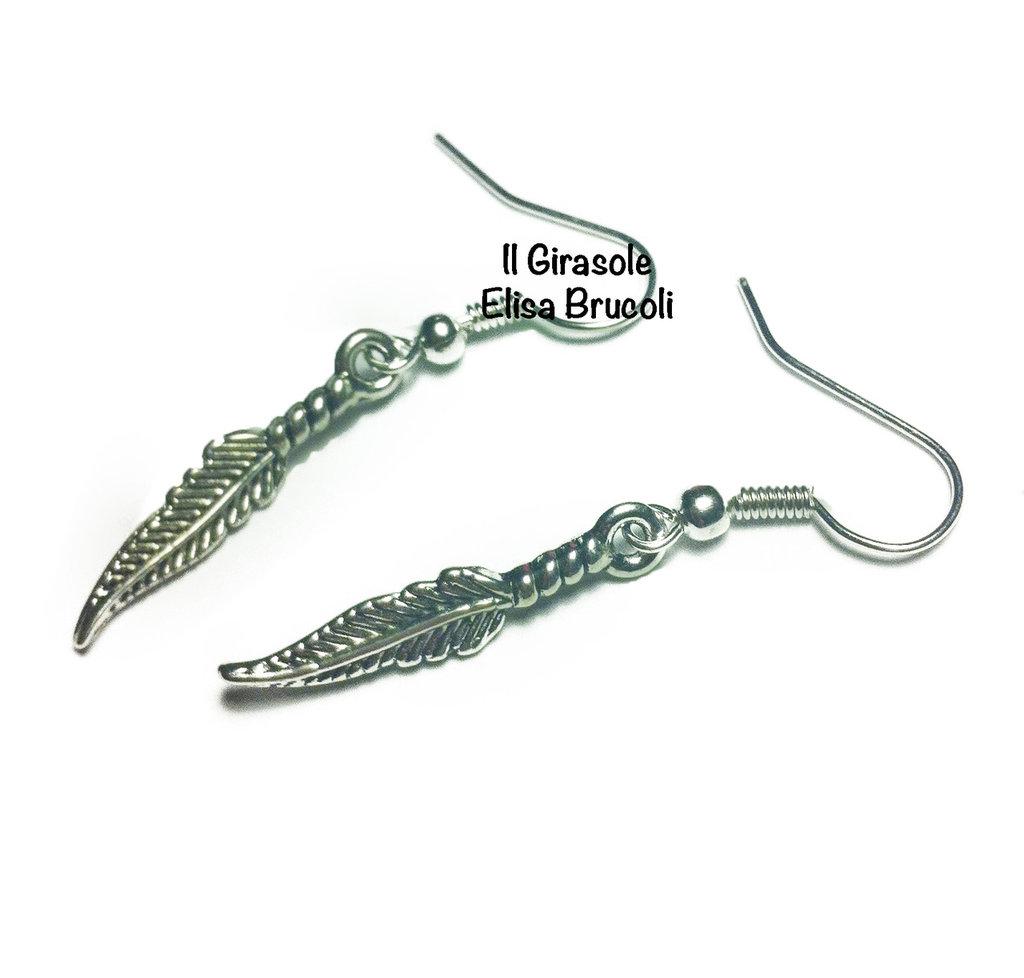 Orecchini piuma in argento tibetano pendenti