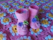 scarpine neonato fiorellini in lana