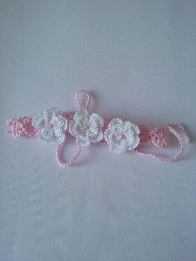 Fascia per bimba  rosa con fiori fatta a mano