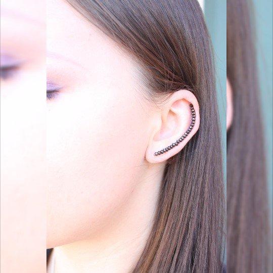 Polsini dell'orecchio Nero, polsini dell'orecchio, nero avvolge Ear