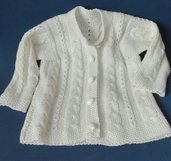 giacchina in lana/seta bianca con treccine e trafori per bambina di 1 anno