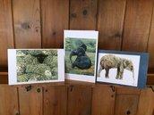 biglietti di cartoncino con dipinti di elefante e pecore