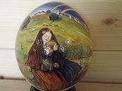 Uova di struzzo vero, dipinto a mano di una copia di Millais