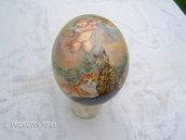 Uovo di struzzo vero dipinto a mano in olio