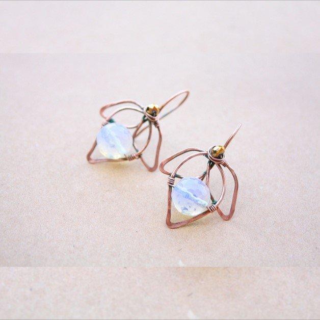 Moonstone Foglia orecchini, Moonstone orecchini di rame