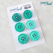 Set 6 bottoni in fimo, per decorazioni, verde acqua