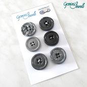 Set 6 bottoni in fimo, per decorazioni, grigio/nero