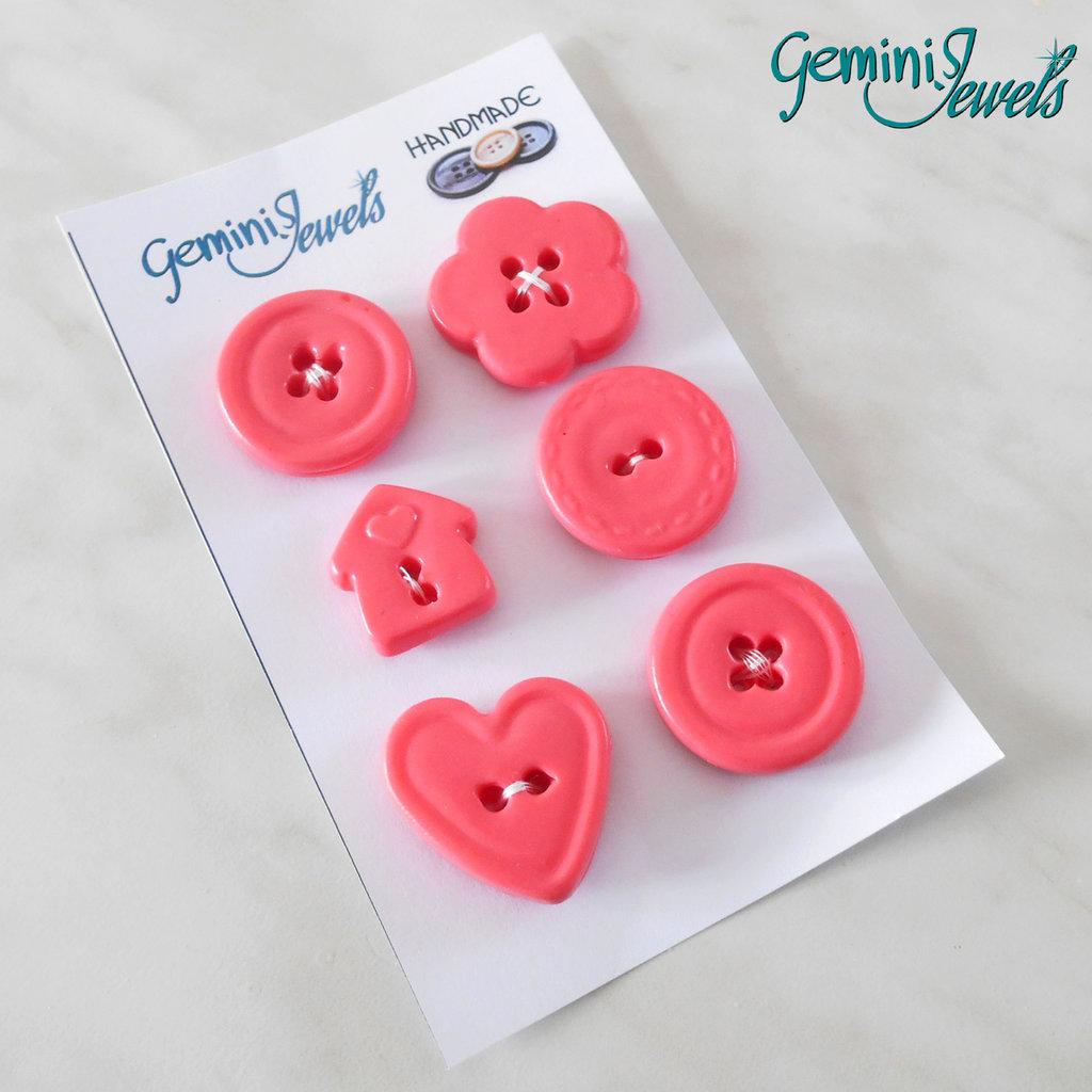 Set 6 bottoni in fimo, per decorazioni, corallo