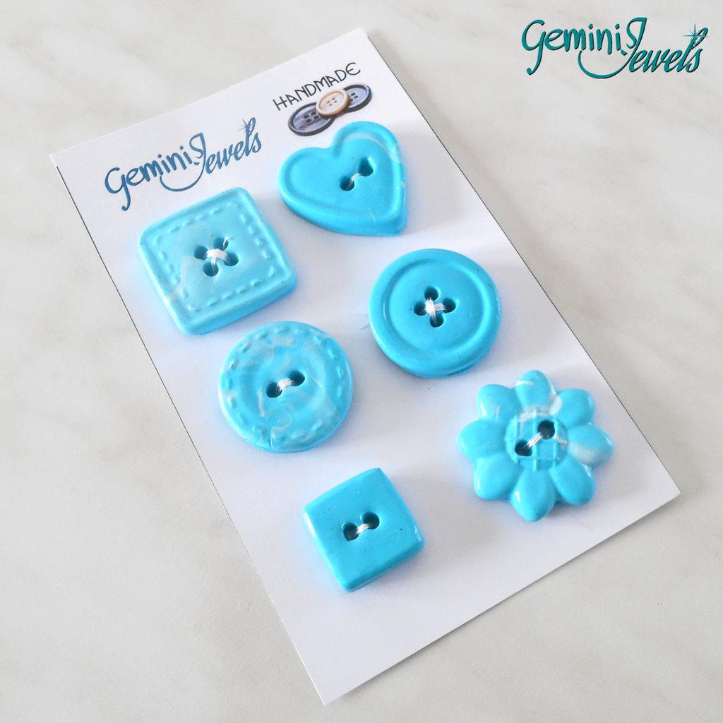 Set 6 bottoni in fimo, per decorazioni, azzurro