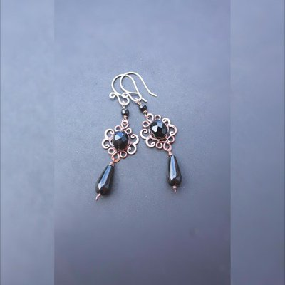 orecchini filo agata nera orecchini pendenti
