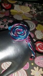 Bracciale wire azzurro e rosa