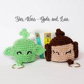 Star Wars portachiavi amigurumi uncinetto Yoda e Leila