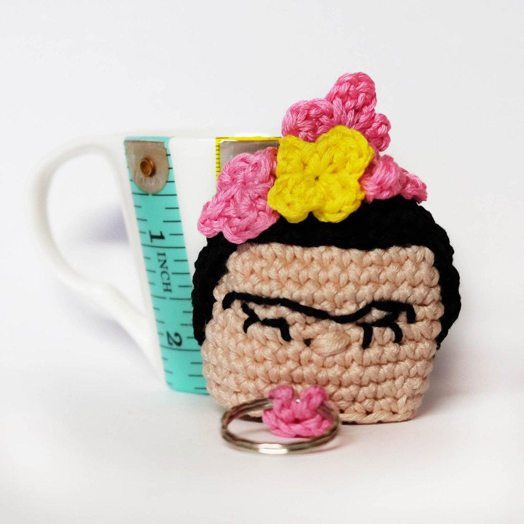 Frida Kahlo  portachiavi amigurumi uncinetto
