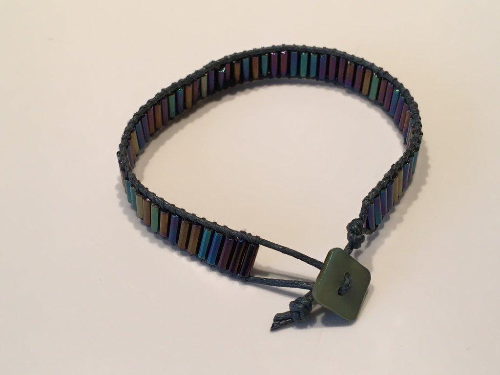 Bracciale perline baguette e filo cotone cerato - s007
