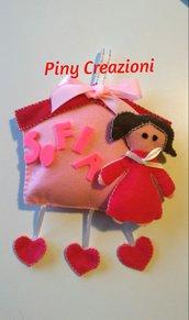 Fiocco nascita casetta  rosa con bambolina