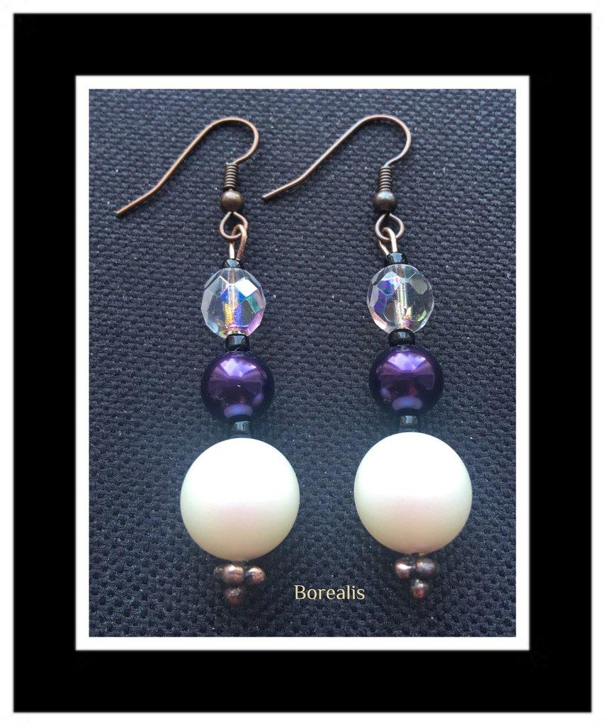 Orecchini Pendenti Perle Swarovski Perle di Boemia Cristalli di Boemia