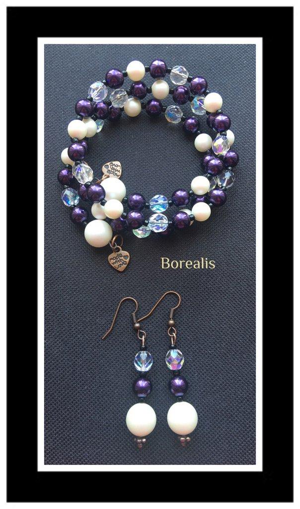 Parure Molla Armonica Bracciale Orecchini Perle Swarovski Perle di Boemia Cristalli di Boemia