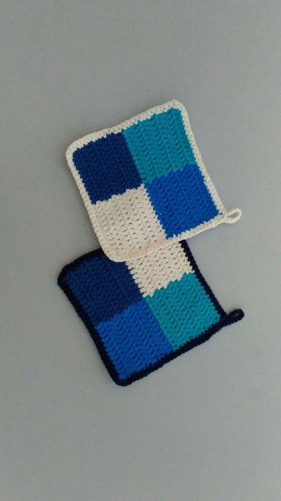 Presine crochet blu e bianche